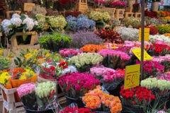 卖不同的五颜六色的花的室外市场在斯德哥尔摩, 库存照片