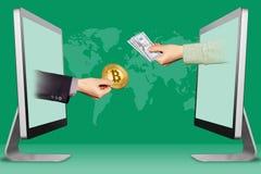 卖位硬币概念,从显示的两只手 有bitcoin的有现金金钱的手和手 3d例证 免版税图库摄影