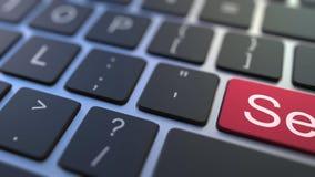 卖关键移交对在键盘的被卖的按钮 概念性3D动画 股票视频