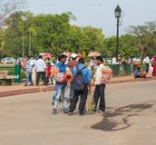 卖商品的人在德里 免版税库存照片