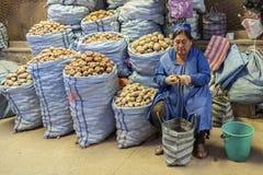 卖土豆的未认出的玻利维亚的妇女在主要市场上在苏克雷,玻利维亚 库存照片