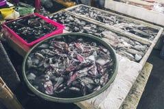 卖在地方市场上的freshsquid在Jimbaran 免版税库存图片