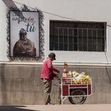 卖在波托西,玻利维亚街道的未认出的玻利维亚的人汁液  库存照片