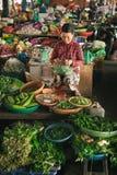 卖在街市上的妇女菜在会安市,越南 免版税库存照片