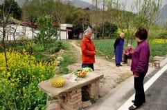 彭州,中国: 卖鸡蛋的乡下妇女 库存图片