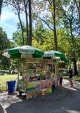卖好吃的东西的食品厂家对一个家庭在中央公园,纽约 图库摄影
