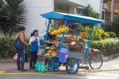 卖推车的果子在利马,秘鲁 库存照片