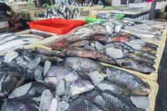 卖新鲜的海鲜钓鱼在旅游胜地地方市场上在Jimbaran,巴厘岛 库存照片