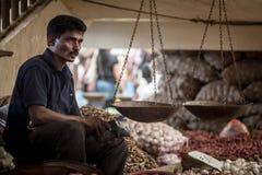 卖新鲜蔬菜和果子的供营商 免版税图库摄影