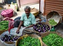 卖新鲜蔬菜的一个人在市场上在德里,印度 免版税库存照片