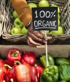 卖有机新鲜的农产品的蔬菜水果商在农夫市场上 免版税库存照片