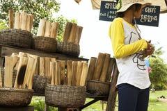 卖柬埔寨食物专业Kralan 库存照片