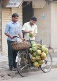 卖椰子,印度的街边小贩 免版税图库摄影