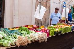 卖水果和蔬菜的地方卖主在锡内乌市场上 免版税库存照片