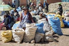 卖水果和蔬菜的未认出的土产当地盖丘亚族人的市场贸易商在地方Tarabuco星期天市场,玻利维亚上 免版税库存图片