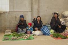 卖水果和蔬菜的未认出的土产当地盖丘亚族人的市场贸易商在地方Tarabuco星期天市场,玻利维亚上 免版税库存照片
