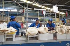 卖肚的未认出的玻利维亚的妇女在主要市场上在苏克雷,玻利维亚 免版税图库摄影