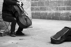 卖艺人大提琴使用 免版税库存照片