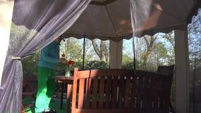卖花人人dap郁金香在树荫处桌上在春天开花 4K 影视素材