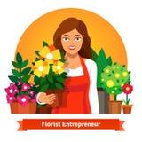 卖花人拿着一个罐花的企业主 向量例证