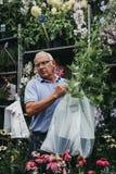 卖花的人在哥伦比亚路花市场,伦敦上, 库存图片
