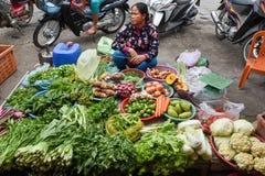 卖菜的夫人在马德望市场上柬埔寨的 库存图片