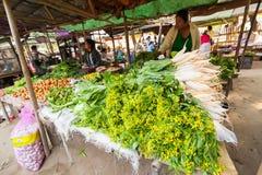 卖蔬菜水果商的妇女在亚洲市场上 bagan缅甸 免版税图库摄影