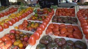 卖蕃茄的不同的类型在地方菜市场,贸易上的村民 影视素材