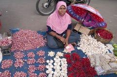 卖水果和蔬菜的妇女 图库摄影