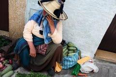 卖水果和蔬菜的摩洛哥妇女在市场上 库存图片