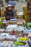 卖水果和蔬菜的越南供营商 图库摄影