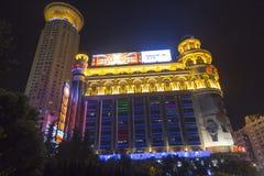 南京街道在上海,中国在夜之前 免版税库存图片
