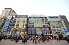 南京路步行街道在上海 免版税库存照片