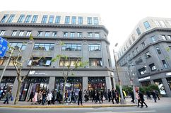 南京路步行街道在上海 免版税库存图片