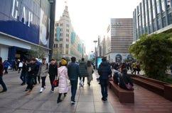 南京路步行街道在上海 库存照片