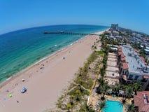 南佛罗里达海滩鸟瞰图 图库摄影