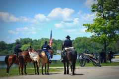 南北战争再制定Pell湖, WI 免版税库存图片