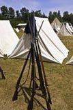 南北战争帐篷和步枪 免版税库存图片