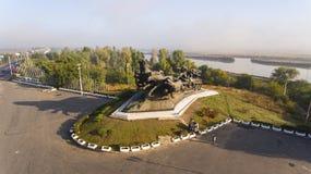 南北战争纪念碑,建立在顿河畔罗斯托夫 免版税库存照片