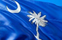 南卡罗来纳旗子 挥动美国州旗子设计的3D 南卡罗来纳状态,3D的全国美国标志翻译 国家 免版税库存照片