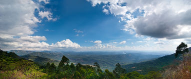 南印度的热带风景有山的 免版税库存图片