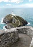 南堆灯塔在北部威尔士 图库摄影