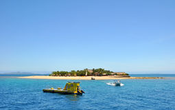 南太平洋海岛小船&潜水艇,斐济。 库存照片