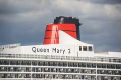 南安普敦- 2014年7月13日:玛丽皇后2游轮细节 que 库存照片