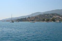 南希腊波罗斯岛,九头蛇,埃伊纳岛06的海岛 15 2014年 希腊海岛沿海海岛的风景温暖的evenin的 图库摄影