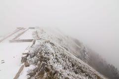 南投Hehuan山在雪的台湾 免版税库存图片