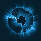 南极发光的光束全球性火光 免版税库存图片