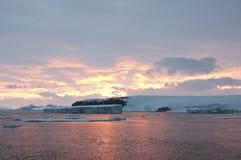 南极日落 免版税库存图片