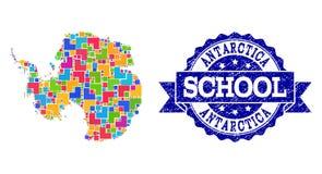 南极洲和难看的东西学校封印构成军用镶嵌地图  库存例证