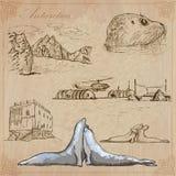 南极洲:旅行环球 传染媒介图画 免版税图库摄影